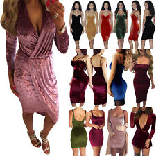 Sexy Ladies Crushed Velvet Off Shoulder Bodycon Dress Party Evening Mini Dresses