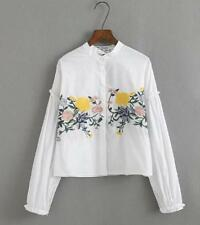 Women's Fashion Blouse Just Cavalli Flower Design Net yarn sleeve Shirt Tops