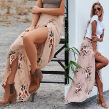 Sexy Women's Boho Floral Print Summer Long Skirt Beach Maxi Party Cocktail Dress