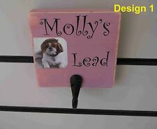 Personalised Handpainted Wooden Dog Lead Holder with your dogs name and photo