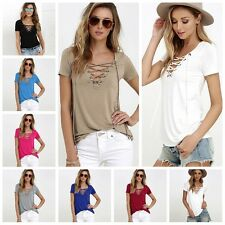 Girls Womens Casual Loose Pullover T Shirt Short Sleeve Lace-up Tops Shirts Hot