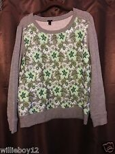 J. Crew Grey & Green Floral Embroidered Sweatshirt Sz L Ships Same Day W/Paid