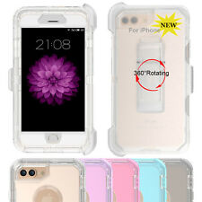 For iPhone Hybrid Protective Hard PC Case Soft TPU Cover & Belt Clip kickstand
