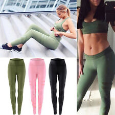 Womens Sports Yoga Fitness Leggings Gym Running Workout Athletic Pants Trousers