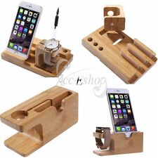 For Apple Watch iWatch iPhone 7 Charging and Docking Station Bamboo Stand Holder