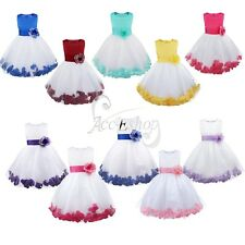 Flower Petals Xmas Baby Kids Princess Bridesmaid Girl Wedding Formal Party Dress