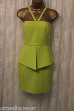 AQ / AQ Strappy Bright Green Peplum Fitted Party Wedding Dress 10 38 £175