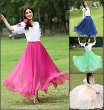 Top New Women's Layer Chiffon Pleated Retro Long Maxi Dress Elastic Waist Skirt