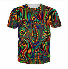 NEW Men/Womens Psychedelic stripe 3D Print Casual short sleeve T-Shirt TOPS V90