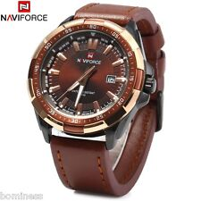 Naviforce 9056 Male Quartz Watch Leather Strap 3ATM Water Resistant Luminous
