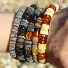 Large Baltic amber discs bracelet made from amber discs. (approx. 60 discs). exp