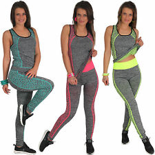 Ladies' Leggings Sports Stretch Leopard Trousers and Top Set Fitness Stripes