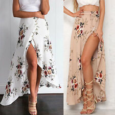 Boho Women Chiffon High Waist Summer Beach Long Maxi Dress Elastic Waist Skirt