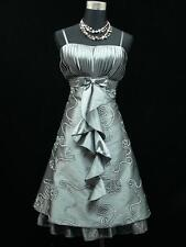 Cherlone Satin Grey Prom Ball Cocktail Party Gown Boho Evening Bridesmaid Dress