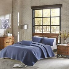 3pc Deep Blue Diamond Stitched Coverlet Bedding Set and Pillow Shams
