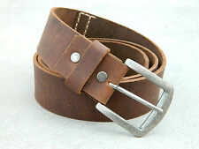 Real Full Grain Vintage Brown Leather Belt Hand Stitch Casual Jeans