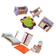 Dolls House Bedroom Miniature Chair Bed Cabinet Furniture Kids Play Toys Set