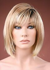 Fashion Wigs Ladies Long Bob Style Hair Blonde with Dark Root Medium Full Wig