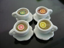 Set of 4 Cups of Orange /LemonTea Dollhouse Miniatures Food Supply Deco