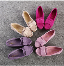 Womens Girls Casual Comfy Bowknot Ballet Flat Shoes Korea Slip On Suede Flats