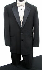 Black Perry Ellis Two Button Satin Notch Lapel Tuxedo Jacket Wedding Prom Mason
