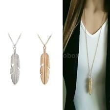 Women Feather Pendant Long Chain Necklace Sweater Statement Vintage Jewelry S2S4