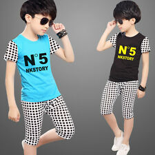 Boys or Girls 2pcs Sets Short Sleeves T-Shirt + Pants Grid design Leisure Suits