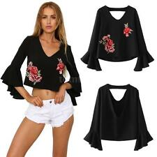 Flare Sleeve Deep V-neck Embroidery Shirt Womens Crop Top Backless Blouse C8Z3