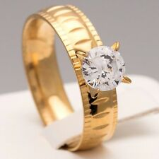 6mm Stainless Steel Gold Plated Cubic Zirconia CZ Ring Womens Band (Size N to W)