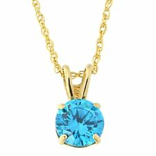 14k Yellow or White Gold 8mm Simulated Blue Topaz Solitaire Pendant Necklace