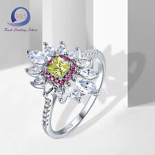 Elegant Multicolor Stone 100% 925 Sterling Silver Ring Party Jewlery Size6 7 8 9