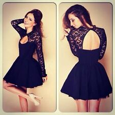 Sexy Lace Mini Dress Backless Hollow Out Ball Evening Womens Pleated Skirt Black