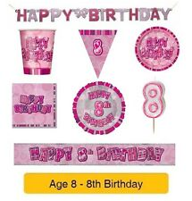 AGE 8 - Happy 8th Birthday PINK GLITZ - Party Banners, Balloons & Decorations