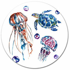 Design Art 'Colorful Jellyfish and Turtles' Oil Painting Print on Metal