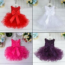Baby Girls Lace Beading Princess Dress Party Wedding Layered Flower Dress HA