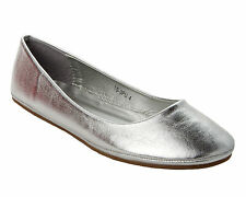 WOMENS SILVER FLAT CASUAL DOLLY BALLERINA BALLET PUMPS SHOES LADIES UK SIZE 3-8