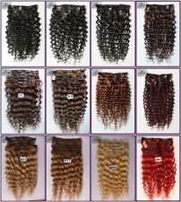 100g 7PCS Full Head Curly Wavy Real Human Hair Clip In Remy Deep Hair Extensions