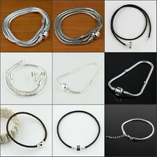 17-48cm Silver Platinum Leather Snake Necklace Bracelet Fit European Charm Beads