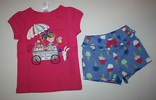 New Gymboree Outlet 2 Piece Ice Cream Cone Outfit Set Top Short NWT 2T 3T 4T 5T