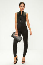LADIES GIRLS HIGH NECK EYELETS HOOK CLASP BLACK JUMPSUIT ALL IN ONE TROUSER SET