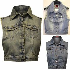 NEW LADIES DENIM DARK BLUE WASH STUD WAISTCOAT WOMENS JEANS FESTIVAL JACKETS