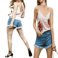 Loose Satin embroidery Backless 1X Blouse Camisole V neck women tops Streetwear
