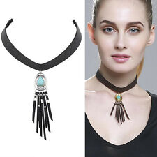 Collar Punk Black Dangle Leather Pendant Turquoise Necklace yellow Gold Plated