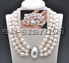 D0296 Set 3Row 14mm White Baroque Freshwater PEARL NECKLACE & Bracelet Conch