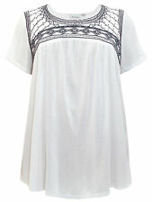 Ladies Avenue WHITE Bead Embellished Short Sleeve Top New (ref 422)