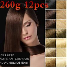 7A 260g 12PCS Luxury Thick Real Human Hair Clip In Remy Hair Extension Full Head