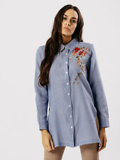 LADIES GIRLS NEW FLORAL EMBROIDERY BLUE STRIPE SIDE SLIT SHIRT DRESS TOP BLOUSE