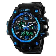 Mens Stainless Steel LED Digital Date Alarm 50m Waterproof Sports Quartz Watch