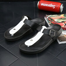 Men's Summer Open-toed Casual Leather Sandals Shoes Beach Flat Slipper EU 39-44