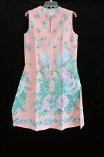 Vtg 1960s 70s New Floral Zip Front Shift House Dress USA Made 14 L